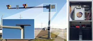 Solar Powered HAWK Pedestrian Crosswalk Mounted on Mast Arm