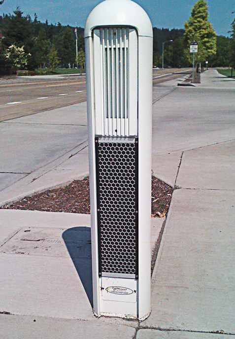 RIGHT: Passive detection devices are a trend in pedestrian crossings designed to address the increased lack of attention that pedes-trians pay to nearby traffic. (Photo courtesy of Electrotechnics Corp.)